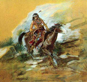 the crow scout 1890 Charles Marion Russell American Indians Oil Paintings